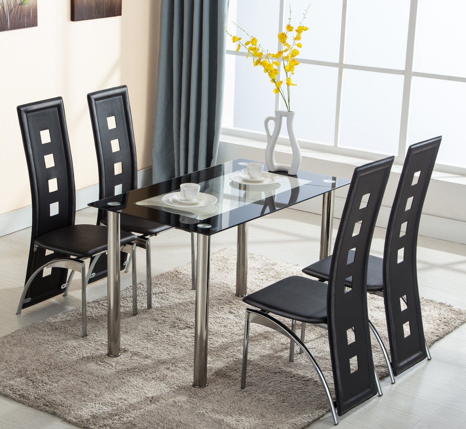 Glass Dining Tables And Leather Chairs with regard to Well known 5 Piece Glass Dining Table Set 4 Leather Chairs Kitchen Room