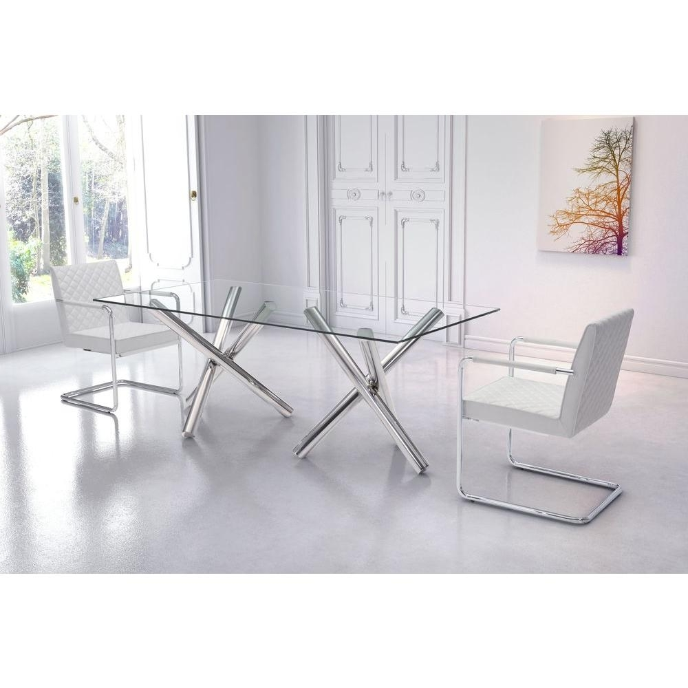 Glass Dining Tables Inside Trendy Zuo Stant Chrome Dining Table 100351 – The Home Depot (Gallery 16 of 25)