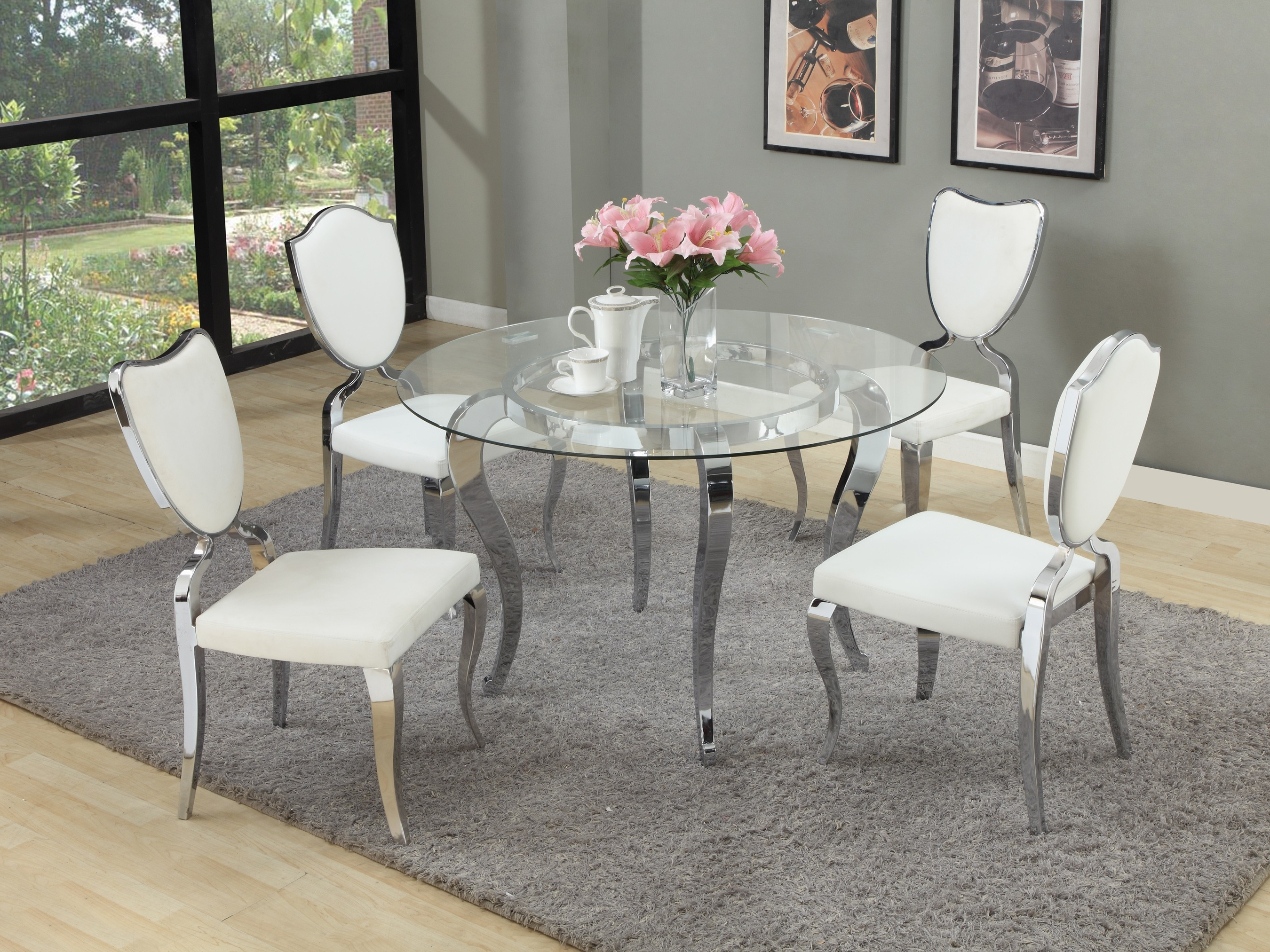 Glass Dining Tables Sets Inside Most Recently Released Round Dining Room Table Sets For 6 Refrence The Super Free Circle (View 14 of 25)