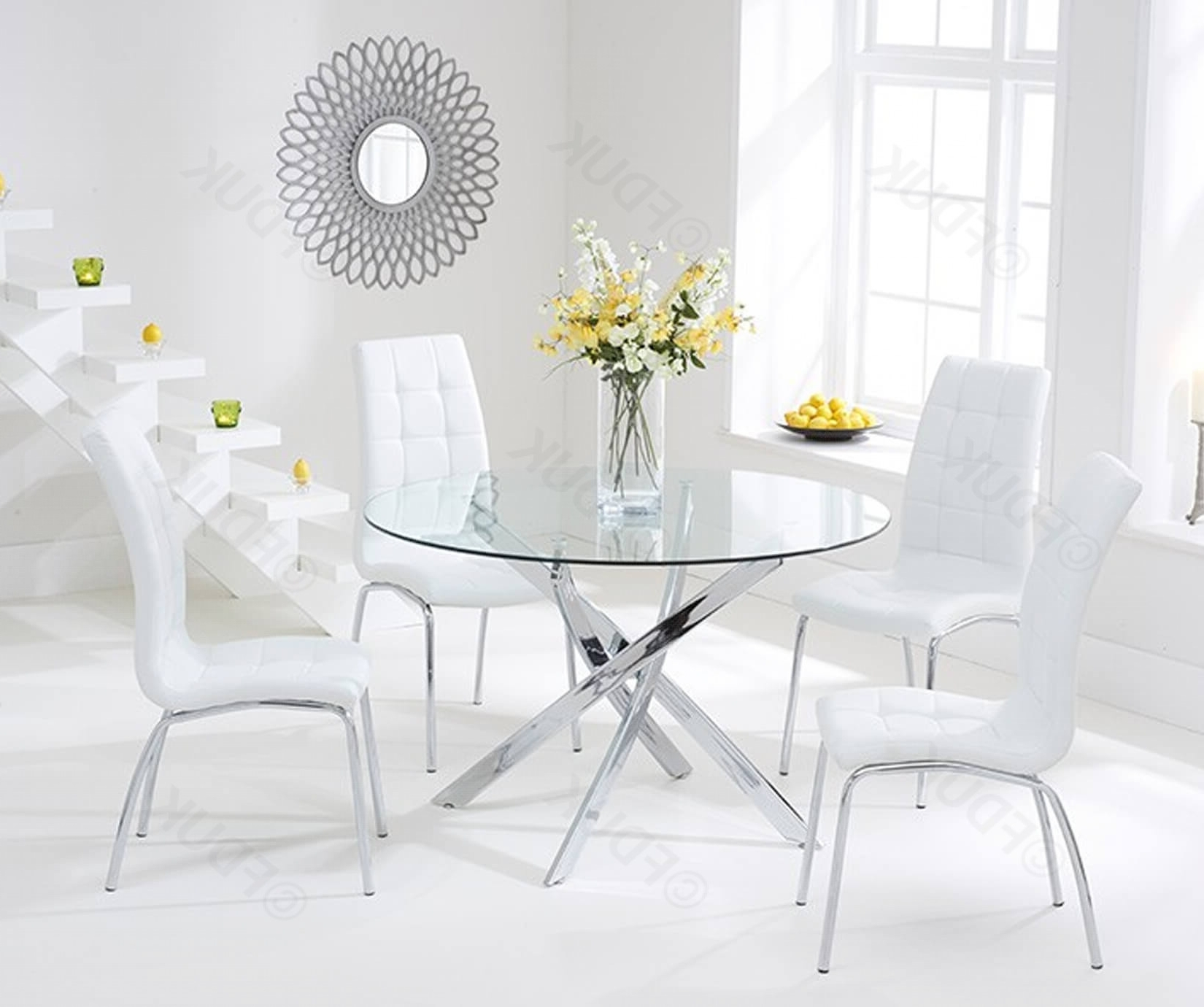 Glass Dining Tables White Chairs For Well Known Mark Harris Daytona (View 14 of 25)