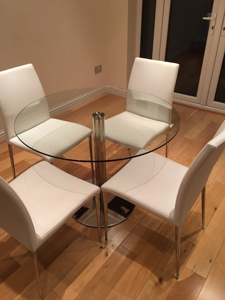 Glass Dining Tables White Chairs With 2017 Glass Dining Table And 4 Chairs – 100Cm John Lewis Table / Danetti (Gallery 25 of 25)