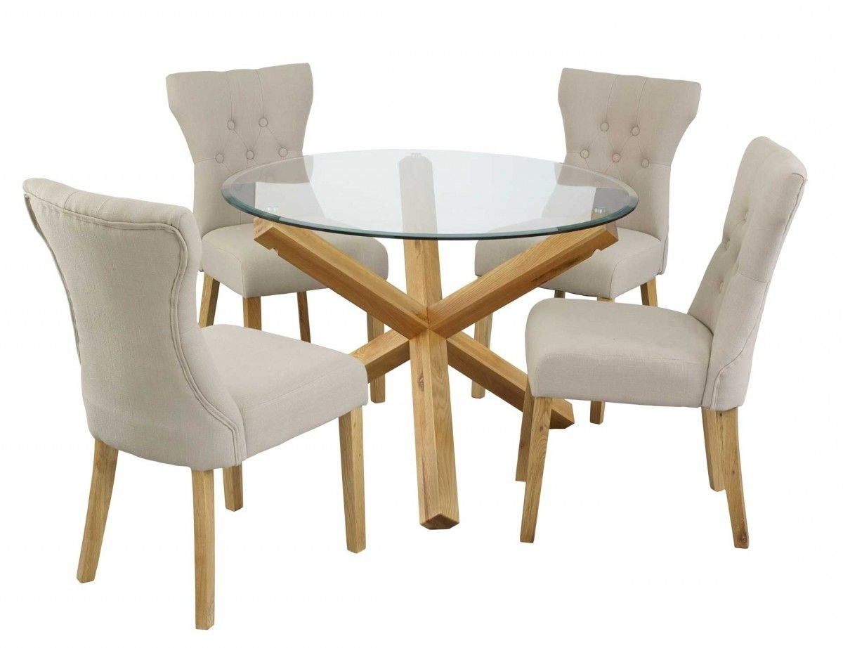 Glass Dining Tables With Oak Legs inside Popular Modern Round Glass Top Dining Table With Steel Legs Combined With