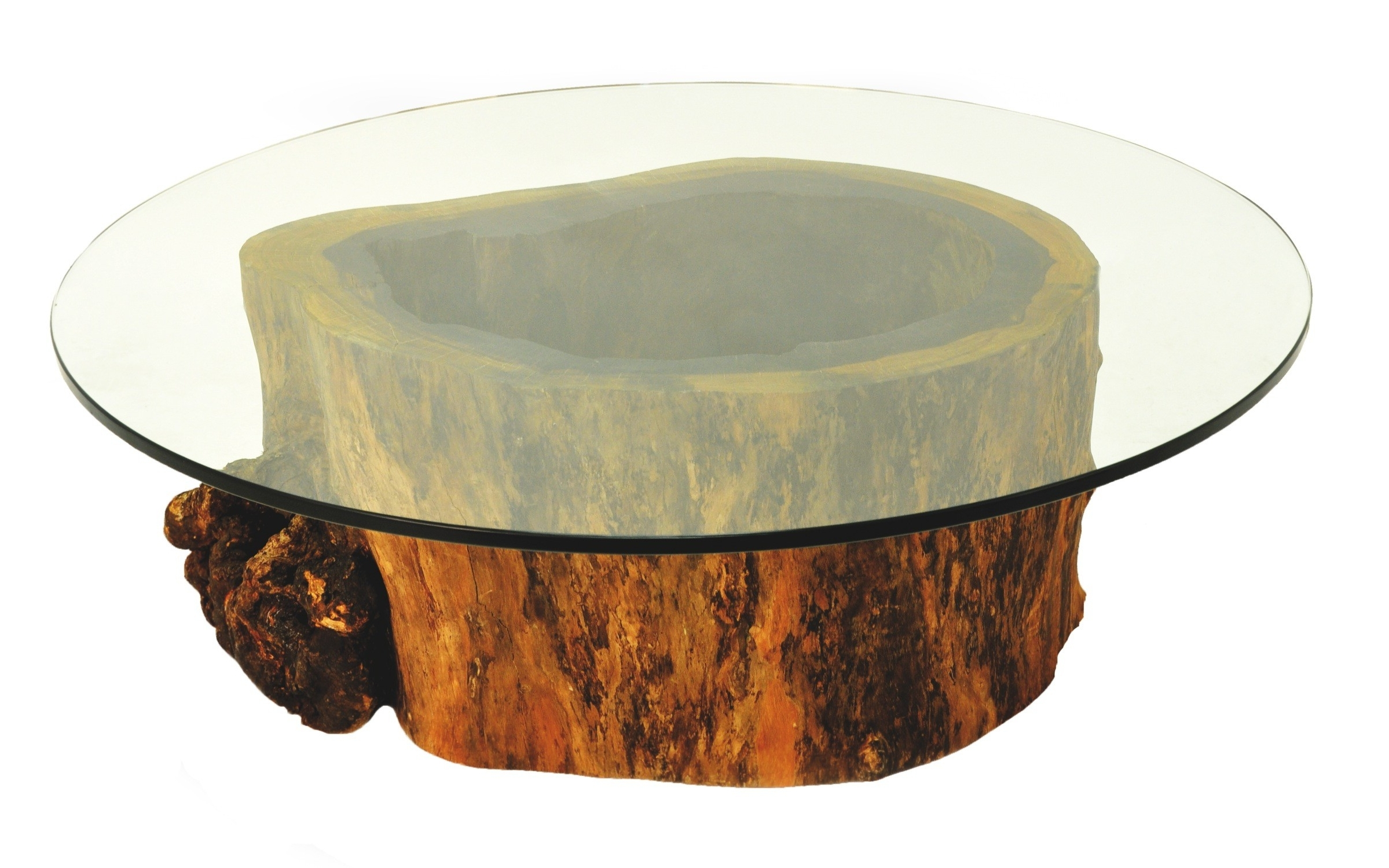 Glass Dining Tables With Oak Legs With Regard To 2018 Round Glass Table With Round Brown Trunk Base Of Gorgeous Round (View 24 of 25)