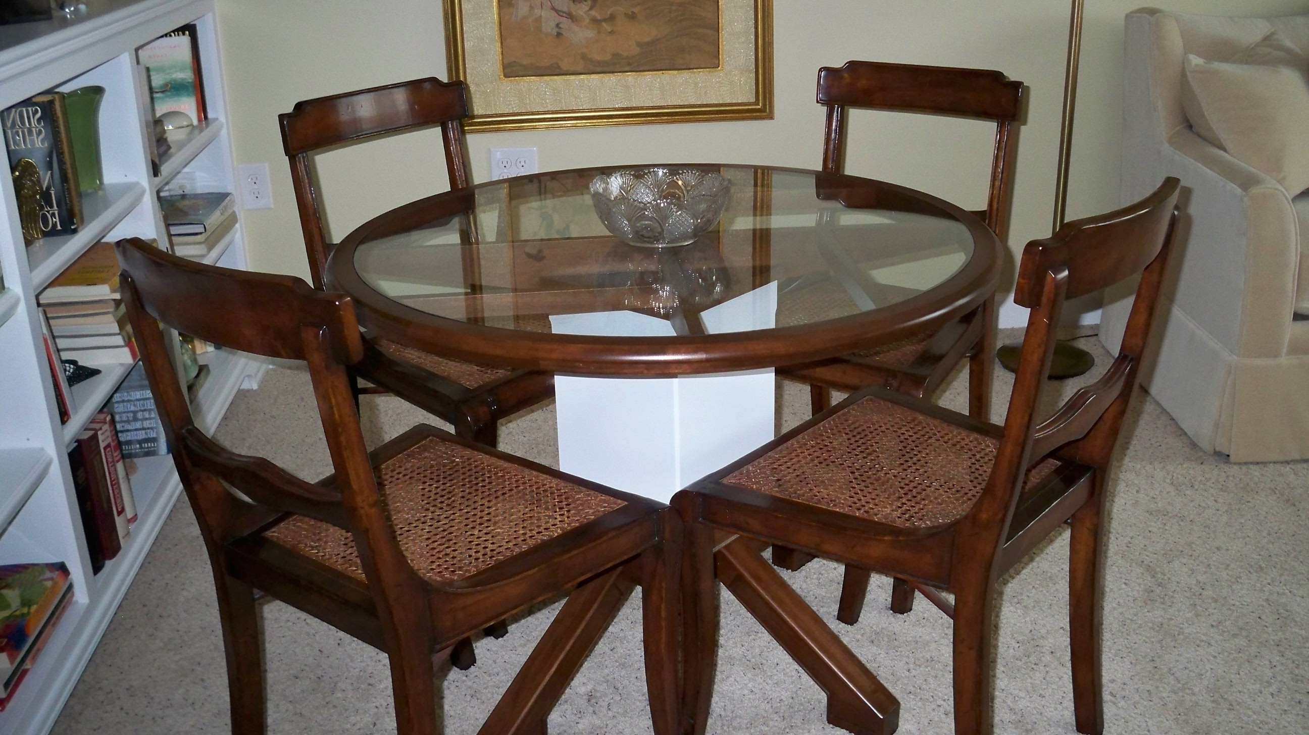 Glass Dining Tables With Wooden Legs In Most Recently Released Round Glass Table With Brown Wooden Frame And White Wooden Legs (View 12 of 25)
