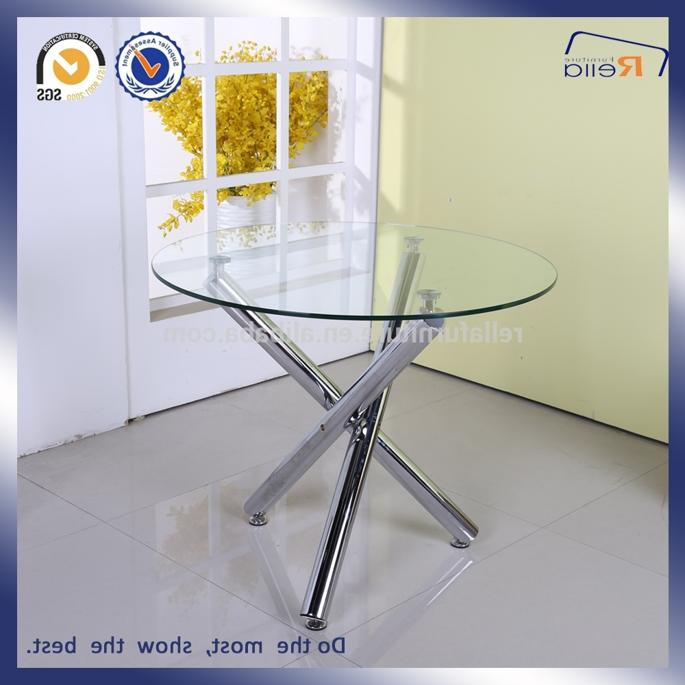 Glass Dining Tables With Wooden Legs In Widely Used Round Glass Dining Table With 3 Metal Legs – Buy Round Glass Dining (View 23 of 25)