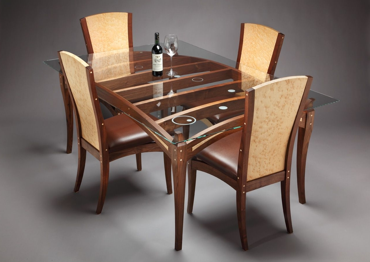 Glass Dining Tables With Wooden Legs Intended For Latest Wooden Dining Table Designs With Glass Top – Google Search (Gallery 7 of 25)
