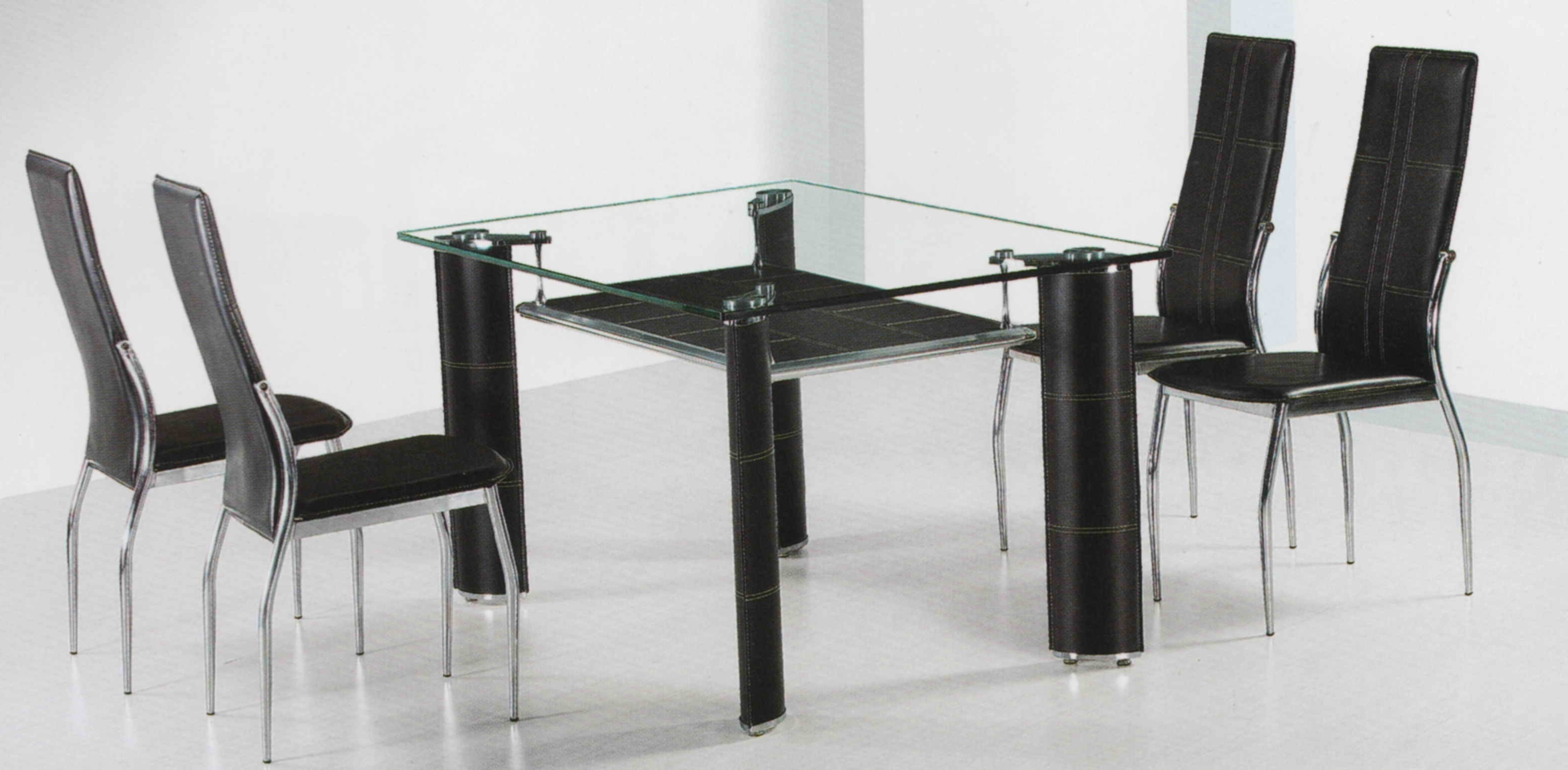 Glass Dining Tables With Wooden Legs With Newest Rectangle Glass Dining Table With Four Black Legs Addedfour (View 15 of 25)