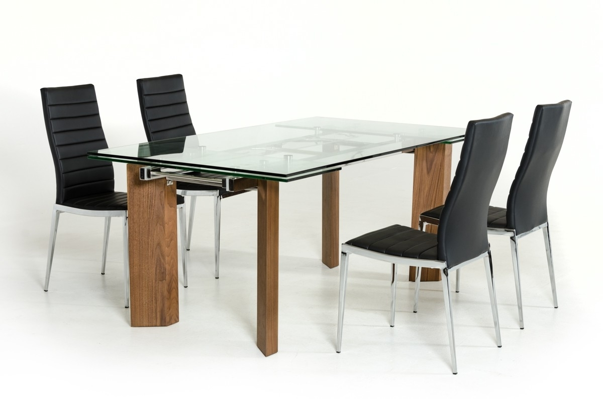 Glass Dining Tables With Wooden Legs Within Most Popular Modern Glass Top Extendible Dining Table With Wooden Legs Columbus (View 14 of 25)
