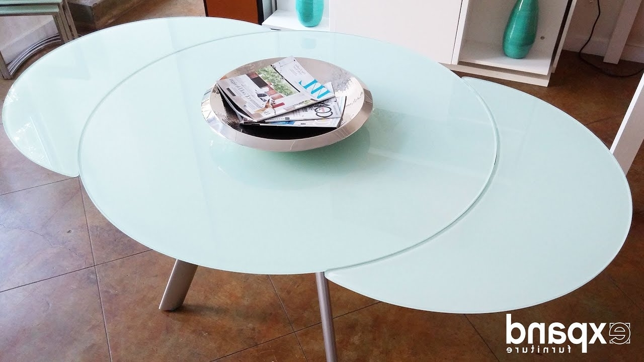 Glass Round Extending Dining Tables pertaining to Favorite Butterfly Round Glass Extending Table Demonstration - Youtube