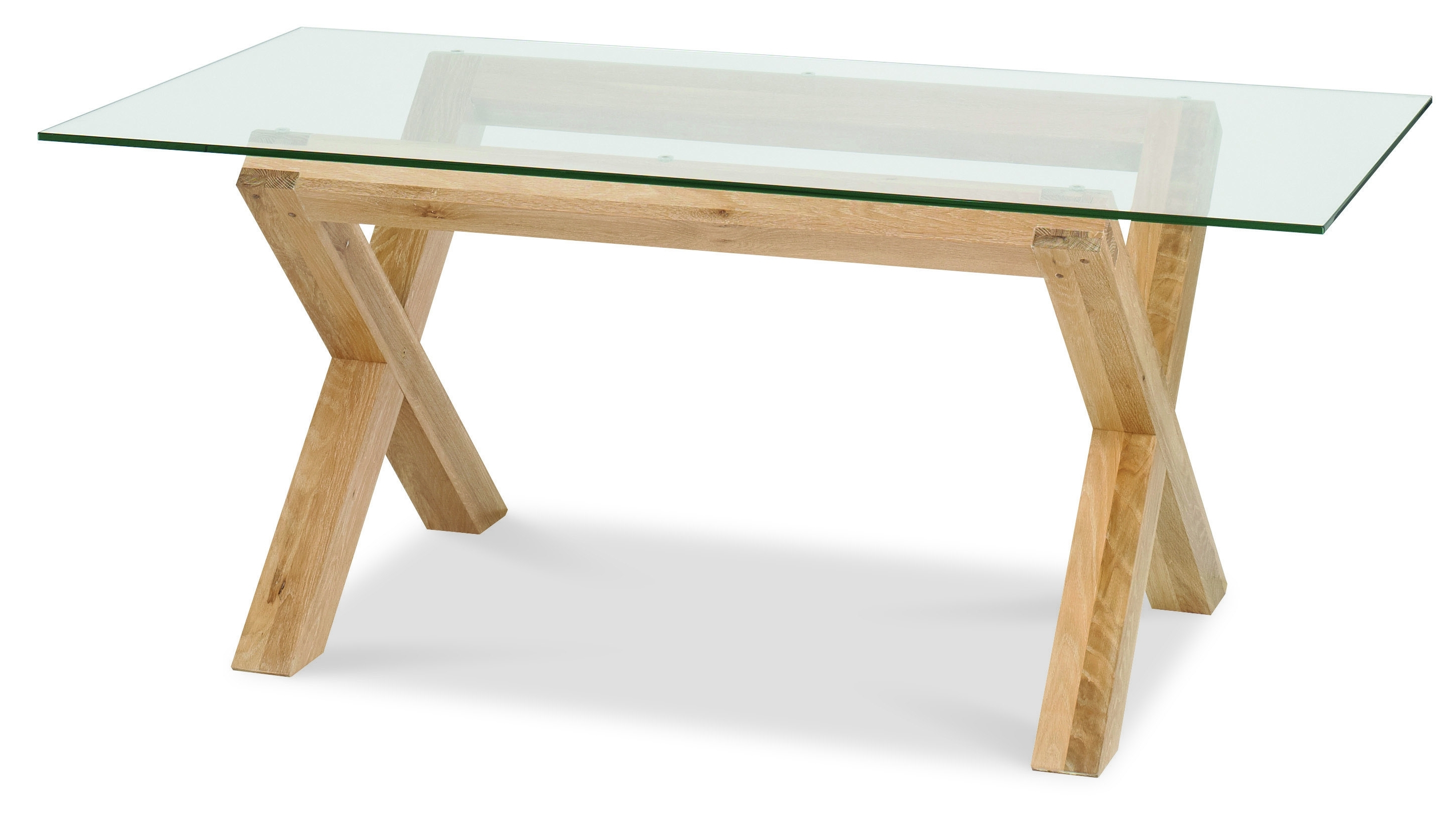 Glass Top Oak Dining Tables Inside Widely Used Lyon Washed Oak Glass Top Dining Table 6 Upholstered Folding Dining (View 2 of 25)