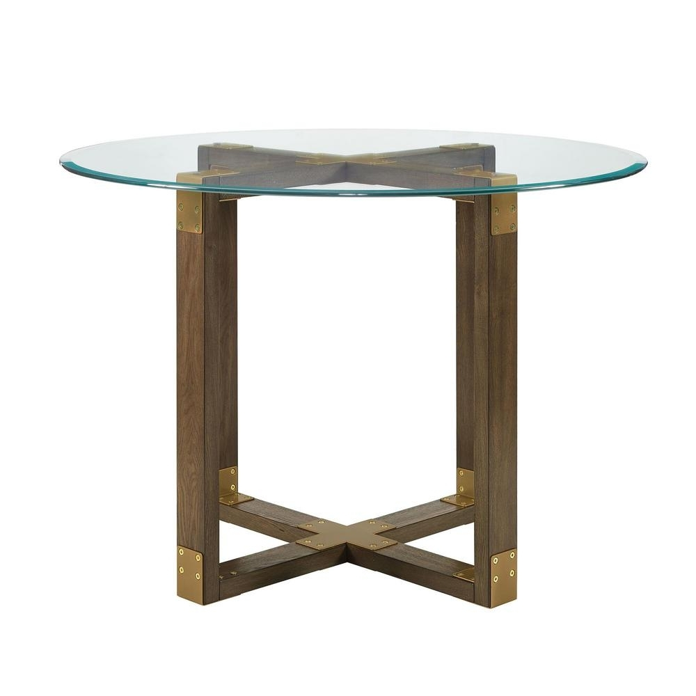Glass Top Oak Dining Tables Regarding Newest Dorel Living Twila Rustic Oak Glass Top Dining Table Fh7805 – The (Gallery 14 of 25)