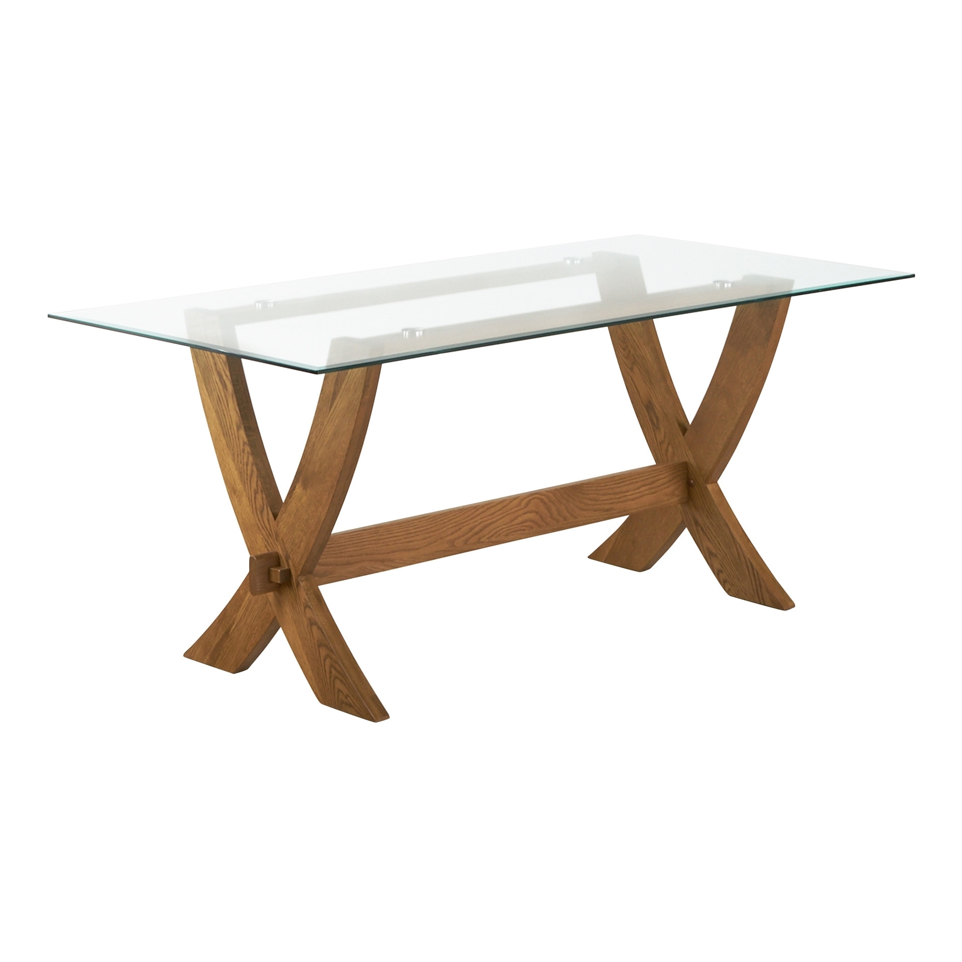 Glass Top Oak Dining Tables with Widely used Reflection Glass Top Dining Table With Solid Oak Crossed Legs
