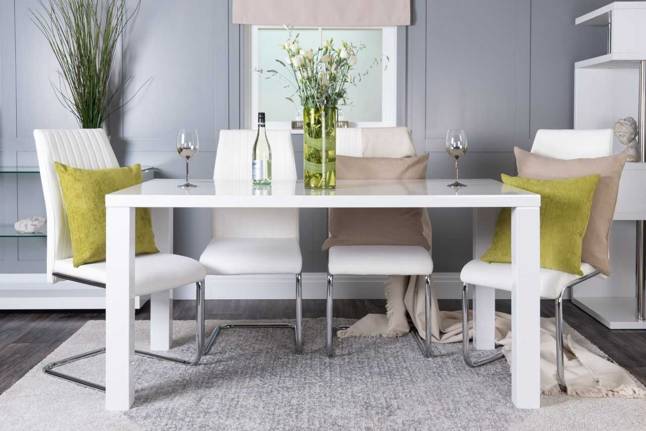 Gloss Dining Sets within Latest Pivero White High Gloss Dining Table Set And 6 Chrome Leather Dining