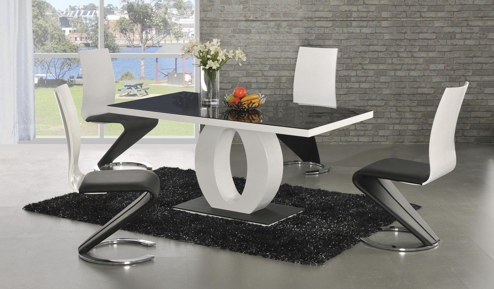 Gloss Dining Tables And Chairs With Regard To Latest Ga Angel Black Glass White Gloss 160 Cm Designer Dining Set 4 6 Z (View 13 of 25)
