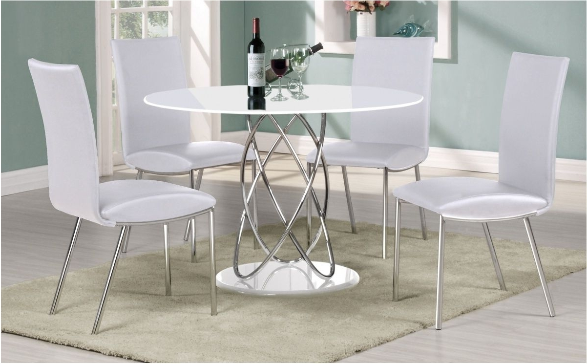 Gloss White Dining Tables And Chairs pertaining to Well known Superb White Gloss Dining Table And Chairs Excellent With Image Of