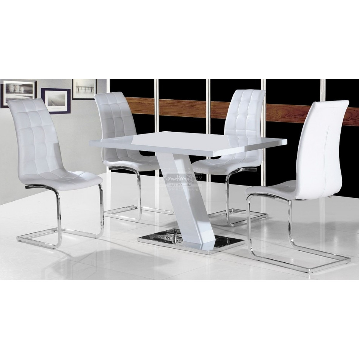 Gloss White Dining Tables And Chairs Throughout Well Known Aliyah High Gloss Dining Table In White – Furniture Mill Outlet (View 23 of 25)