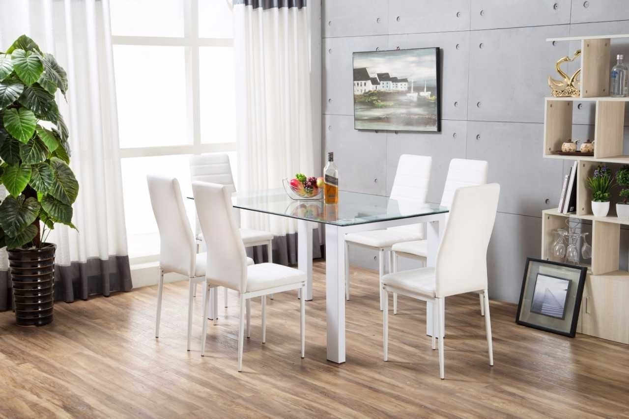 Gloss White Dining Tables And Chairs Within Trendy Large White Dining Table And Chairs – Dining Tables Ideas (Gallery 15 of 25)