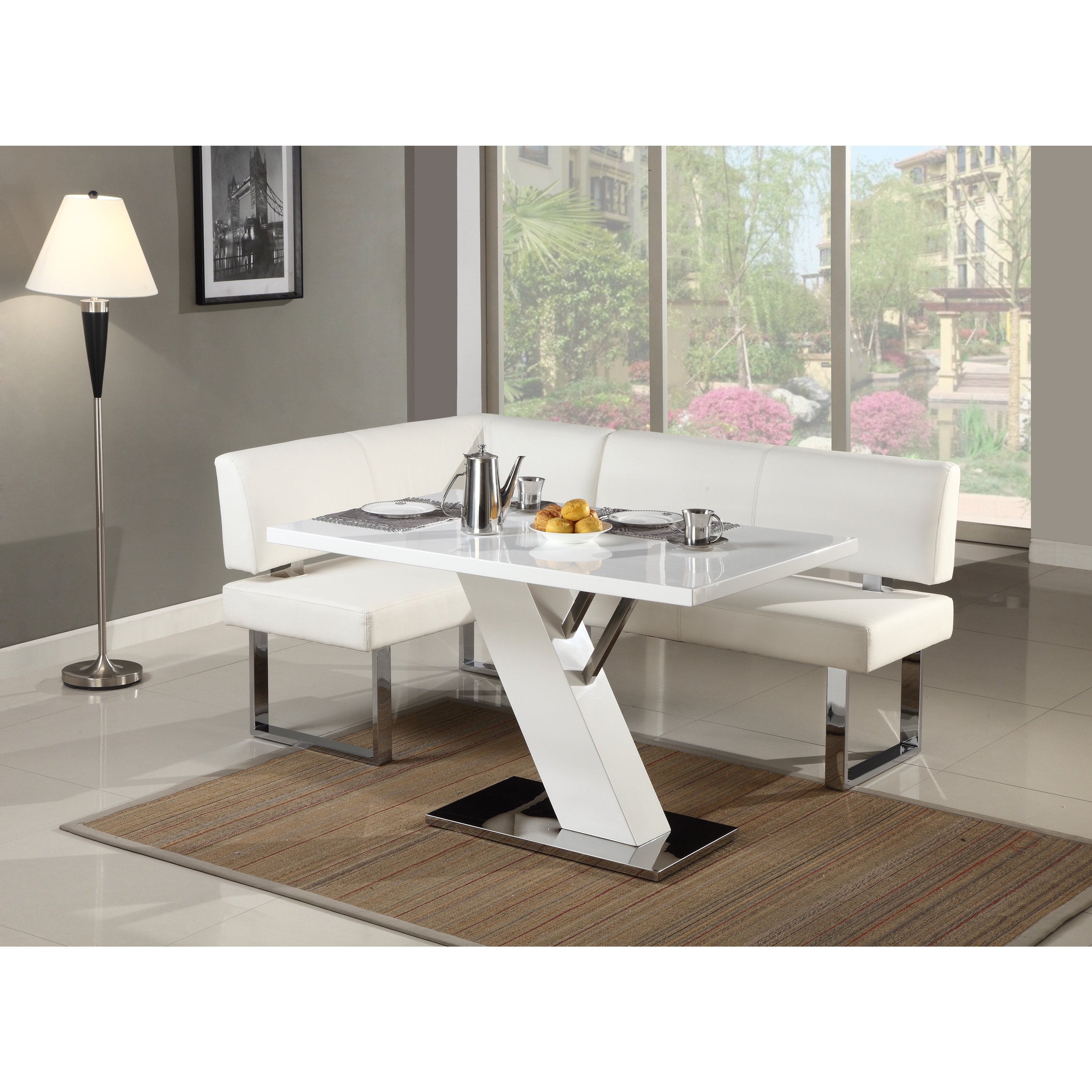 Gloss White Dining Tables For Fashionable Shop Christopher Knight Home Leah Gloss White/chrome Dining Table (View 5 of 25)