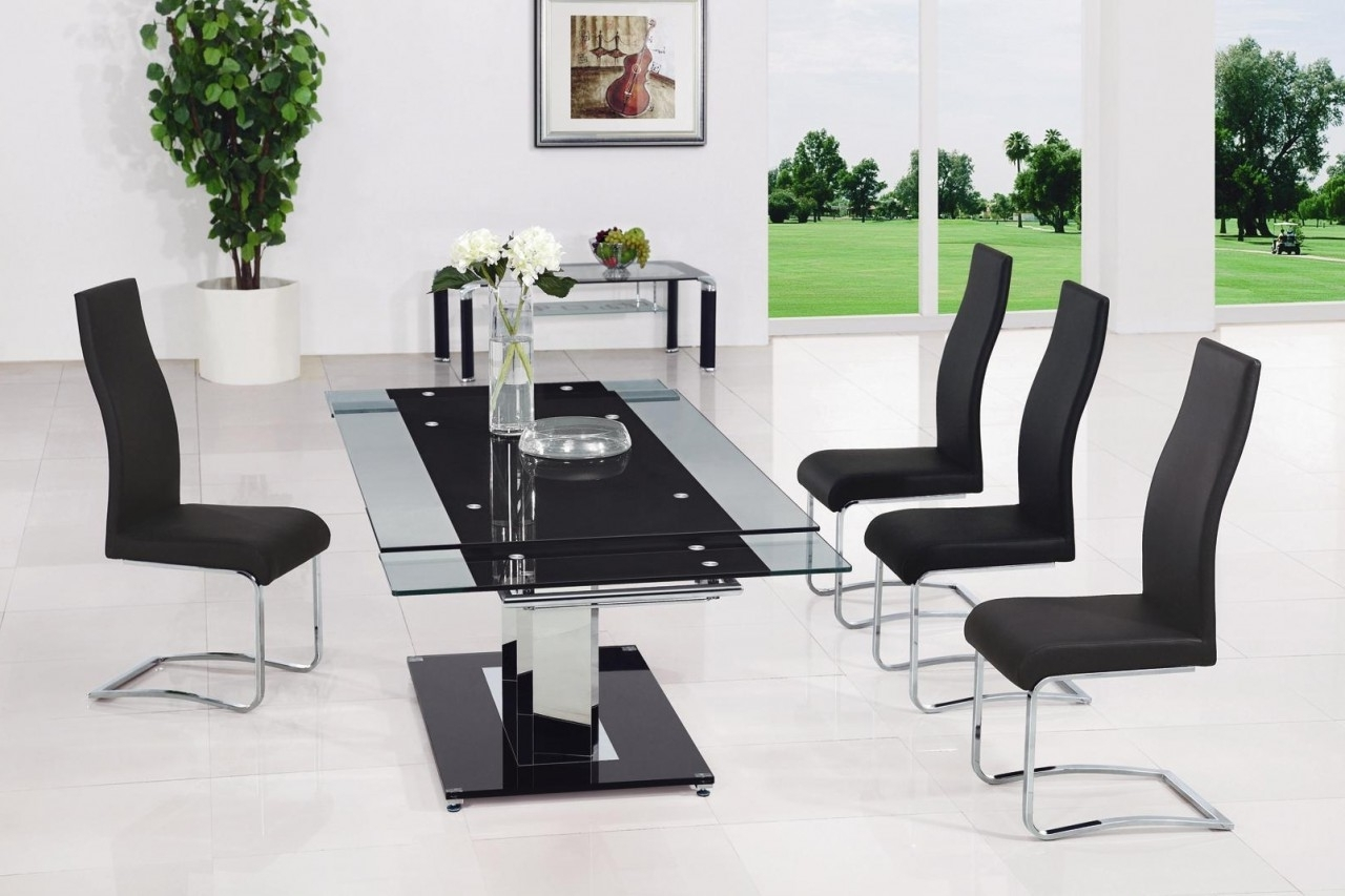 Gomez Black Extendable Glass Dining Table – Glass Decorating Ideas In Well Liked Extending Glass Dining Tables And 8 Chairs (Gallery 20 of 25)