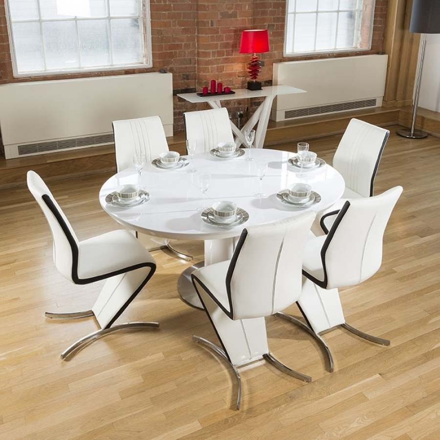Gorgeous Dining Set White Round / Oval Extending Table + 6 Z Chairs Within Trendy White Oval Extending Dining Tables (View 17 of 25)