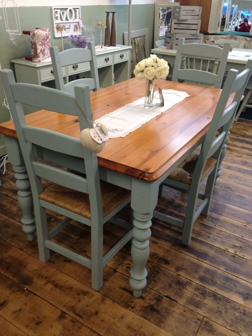 Gorgeous Kitchen Table And Chair Set Transformedaspirations Uk Pertaining To Most Popular Painted Dining Tables (View 23 of 25)