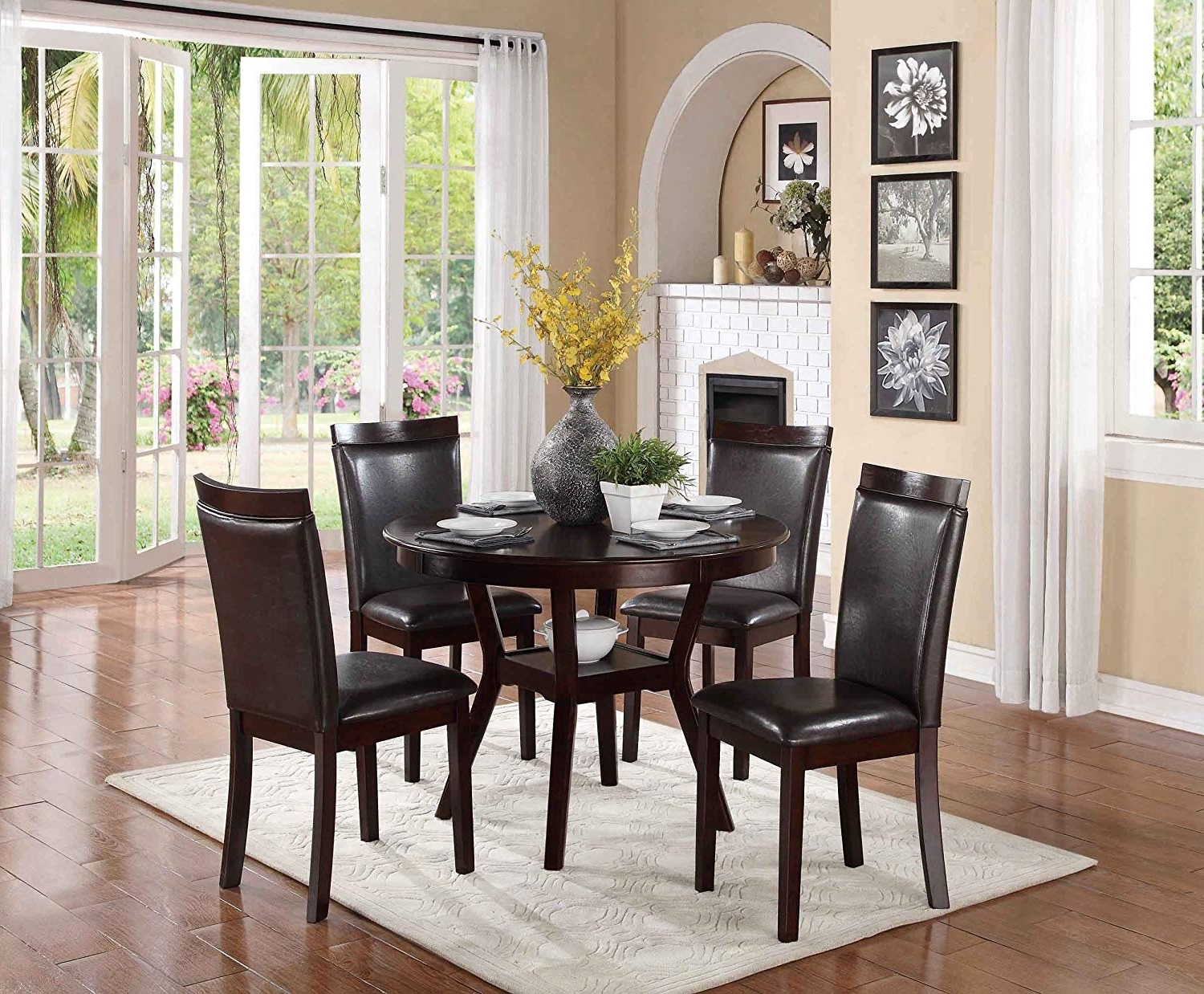 Grady 5 Piece Round Dining Sets With Recent Amazon – Homelegance Shankmen Round 5 Piece Dining Set, Espresso (Gallery 18 of 25)