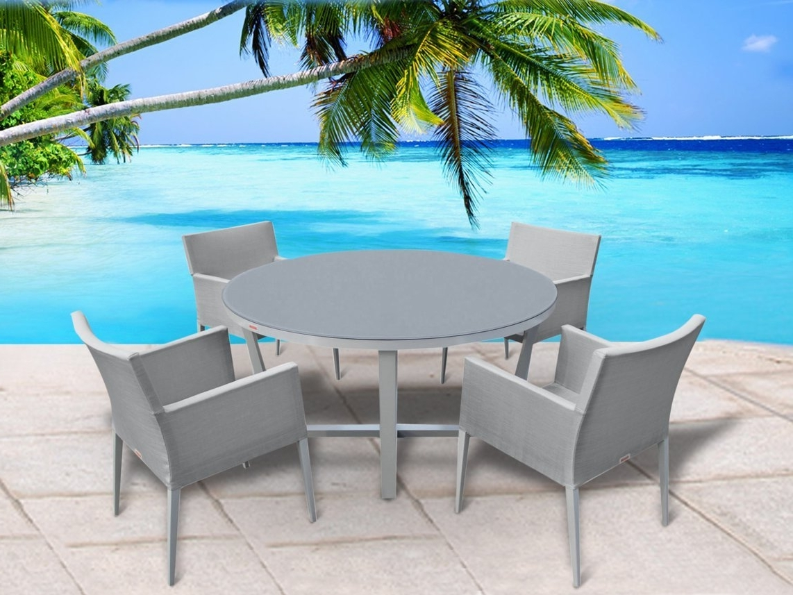 Grady 5 Piece Round Dining Sets Within Fashionable Buy Outdoor Patio Furniture New Aluminum Gray Frosted Glass 5 Piece (View 11 of 25)