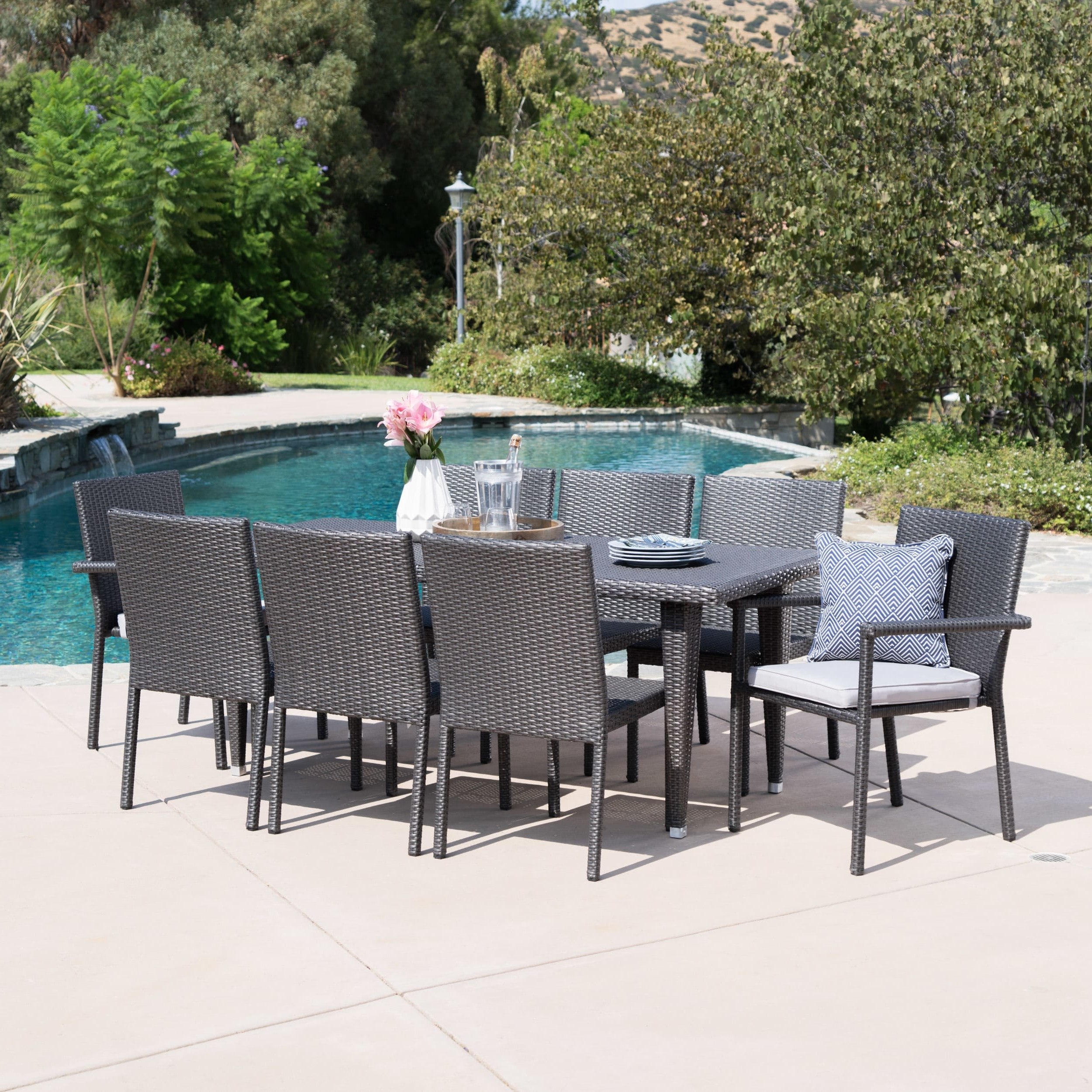 Grady Round Dining Tables in Most Current Christopher Knight Home Grady Outdoor 9-Piece Rectangular Wicker