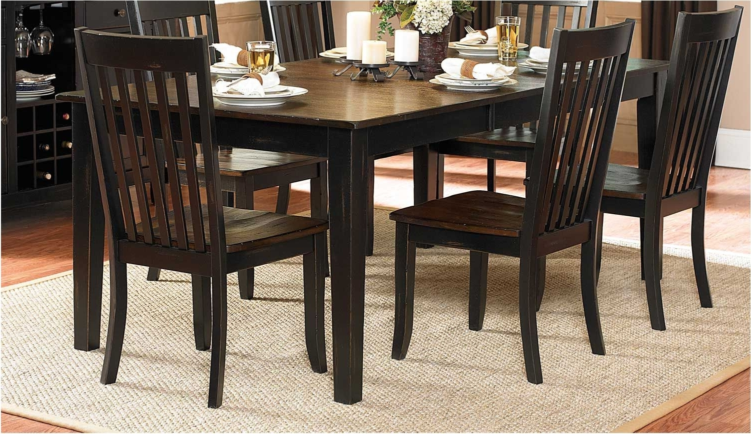 Great Kitchen Large Wooden Dining Table Black Leather Seat Bench Pertaining To Favorite Dark Brown Wood Dining Tables (Gallery 3 of 25)