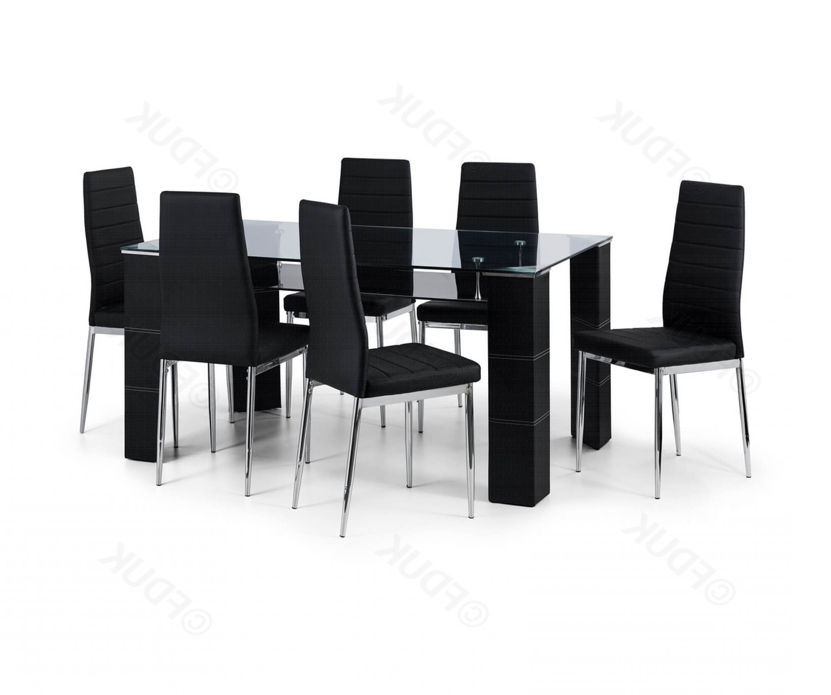 Greenwich Glass Dining Table With 6 Chairs With Regard To Black Glass Dining Tables 6 Chairs (View 18 of 25)