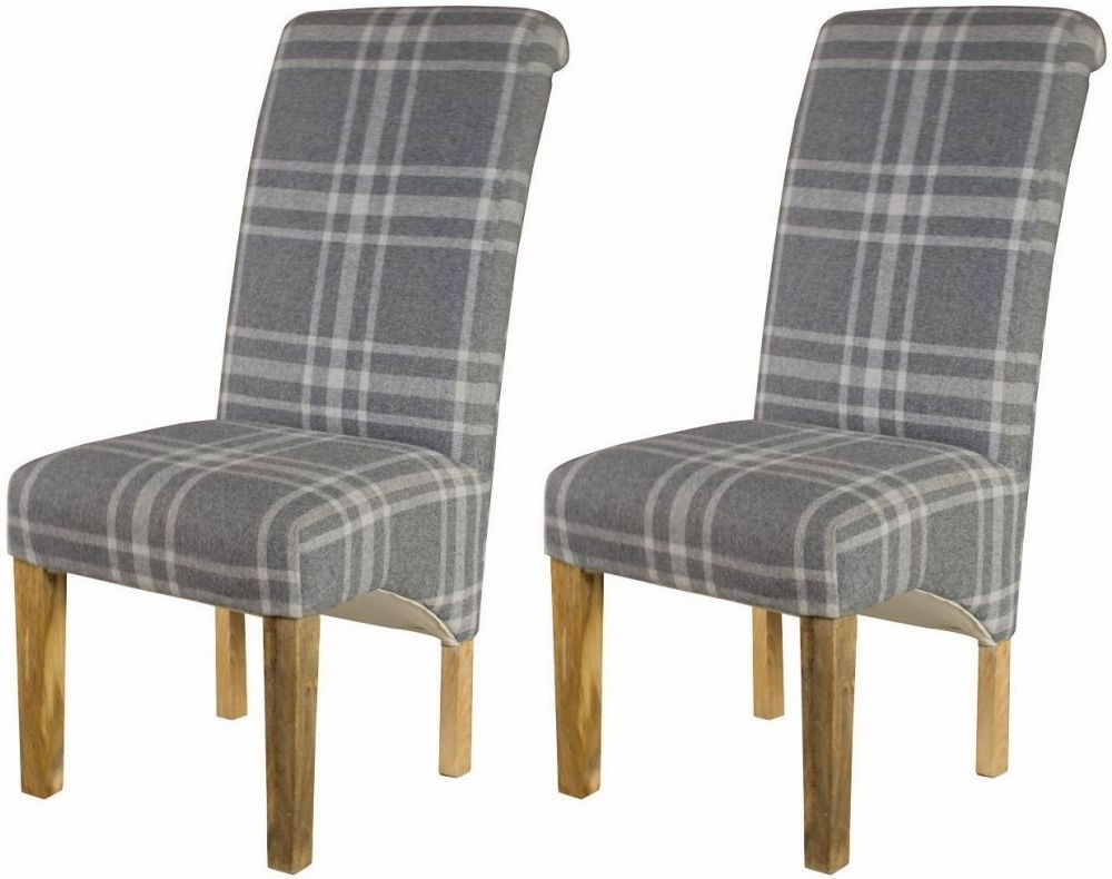 Grey Dining Chairs Throughout Famous Buy Grey Tartan Dining Chair (Pair) Online – Cfs Uk (View 6 of 25)