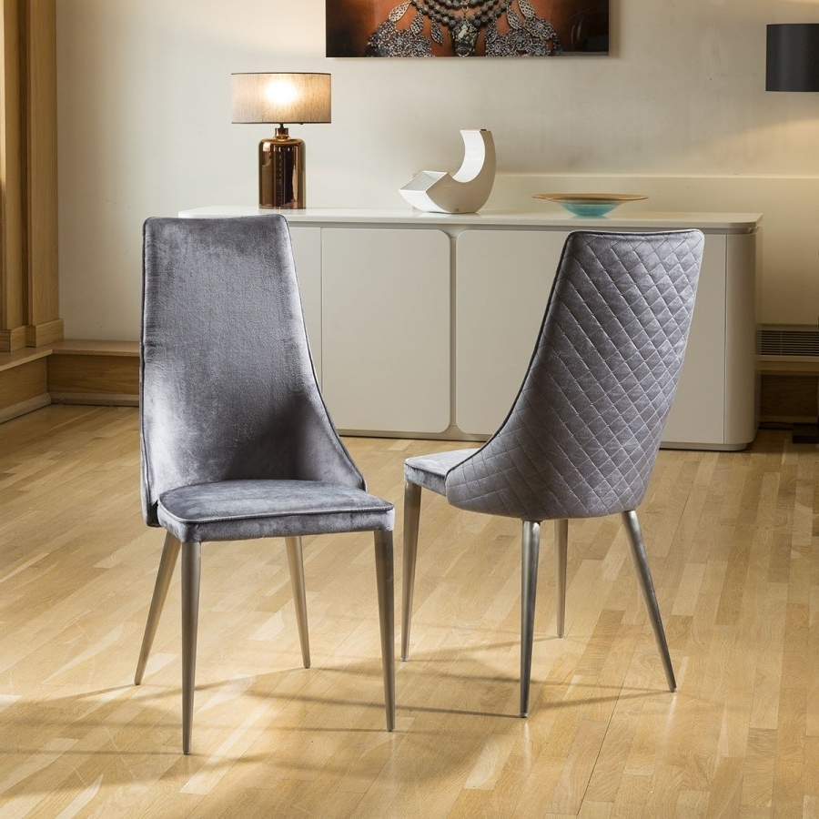 Grey Dining Chairs With Trendy Set Of 2 Sleek Velvet High Back Modern Dining Chairs Grey Fabric (View 4 of 25)
