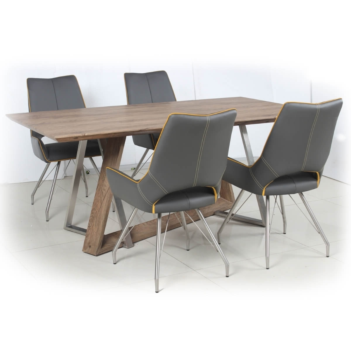 Grey Dining Chairs Within Well Known Dining Set – Industrial Style Wood Dining Table And 4 Grey Dining (View 9 of 25)