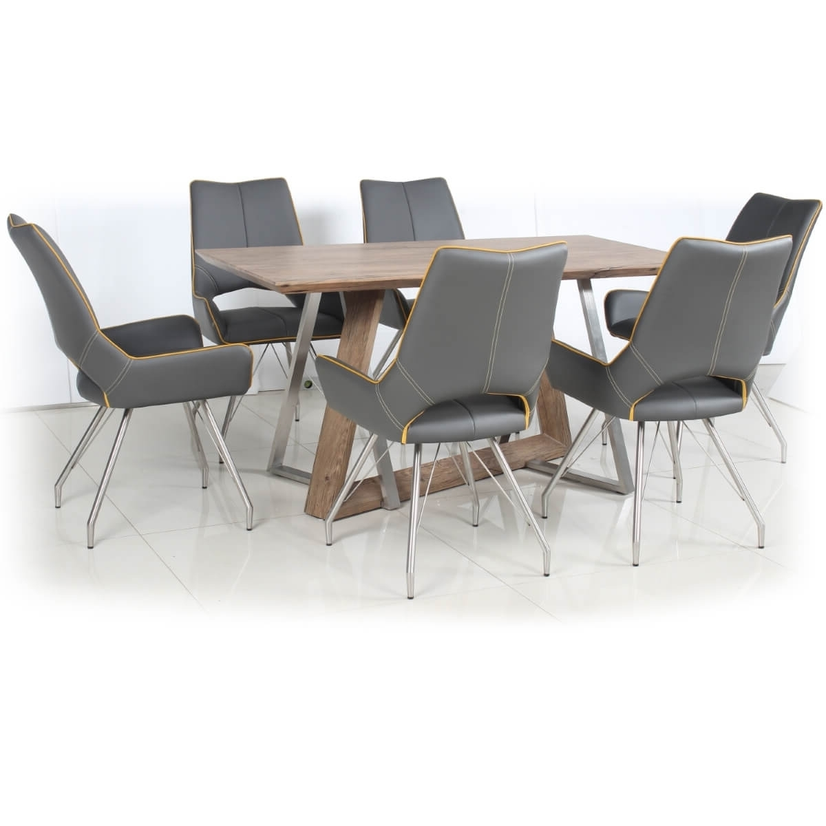 Grey Dining Tables For Recent Dining Set – Industrial Style Wood Dining Table And 6 Grey Dining (View 8 of 25)
