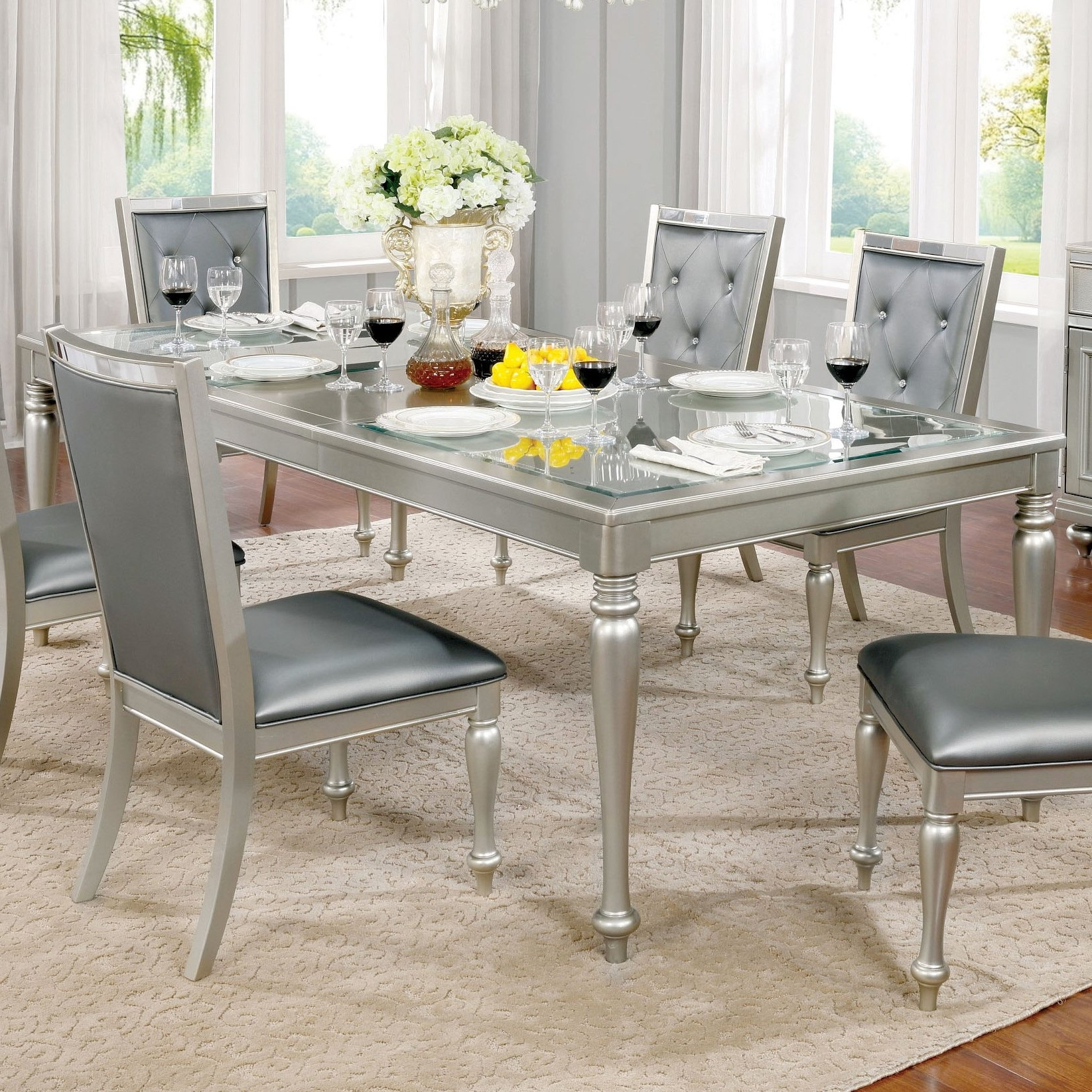 Grey Dining Tables throughout Favorite Shop Furniture Of America Glendel Glam Embossed Glass Top Silver