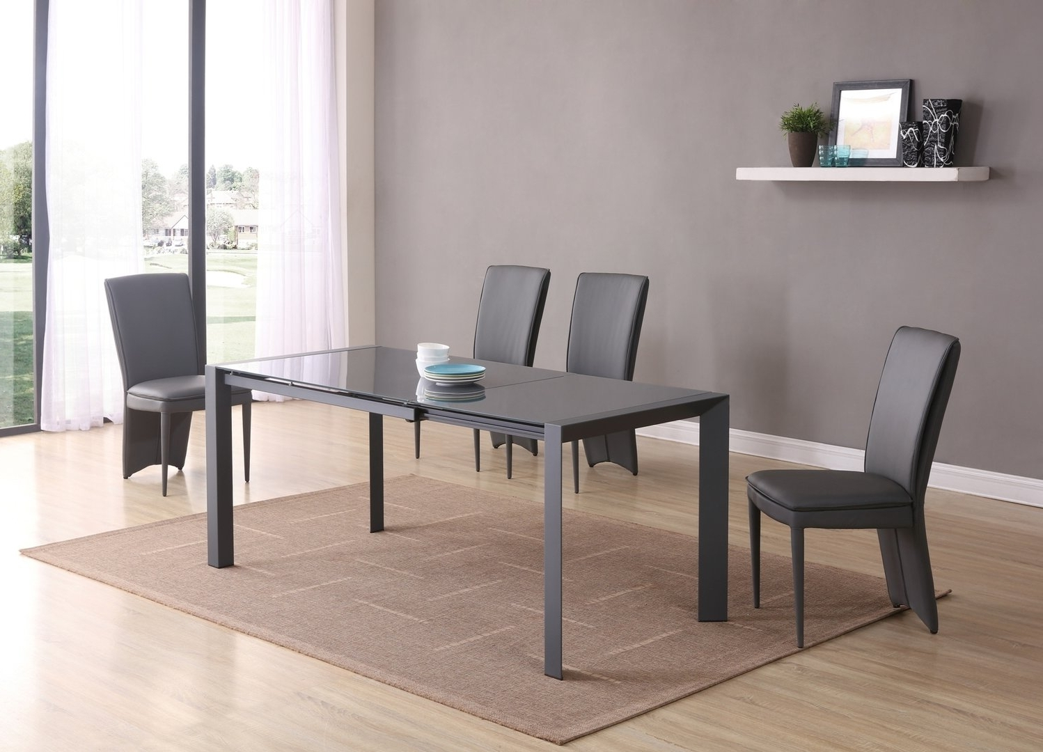 Grey Dining Tables With Well Liked Extending Matt Grey Glass Dining Table And 6 Chairs – Homegenies (Gallery 13 of 25)