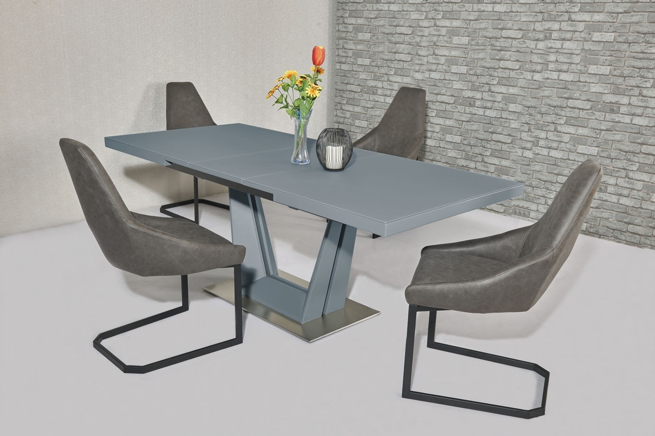 Grey Glass Dining Tables For Famous Matt Grey Glass Dining Table And 6 Fabric Chairs (Gallery 17 of 25)