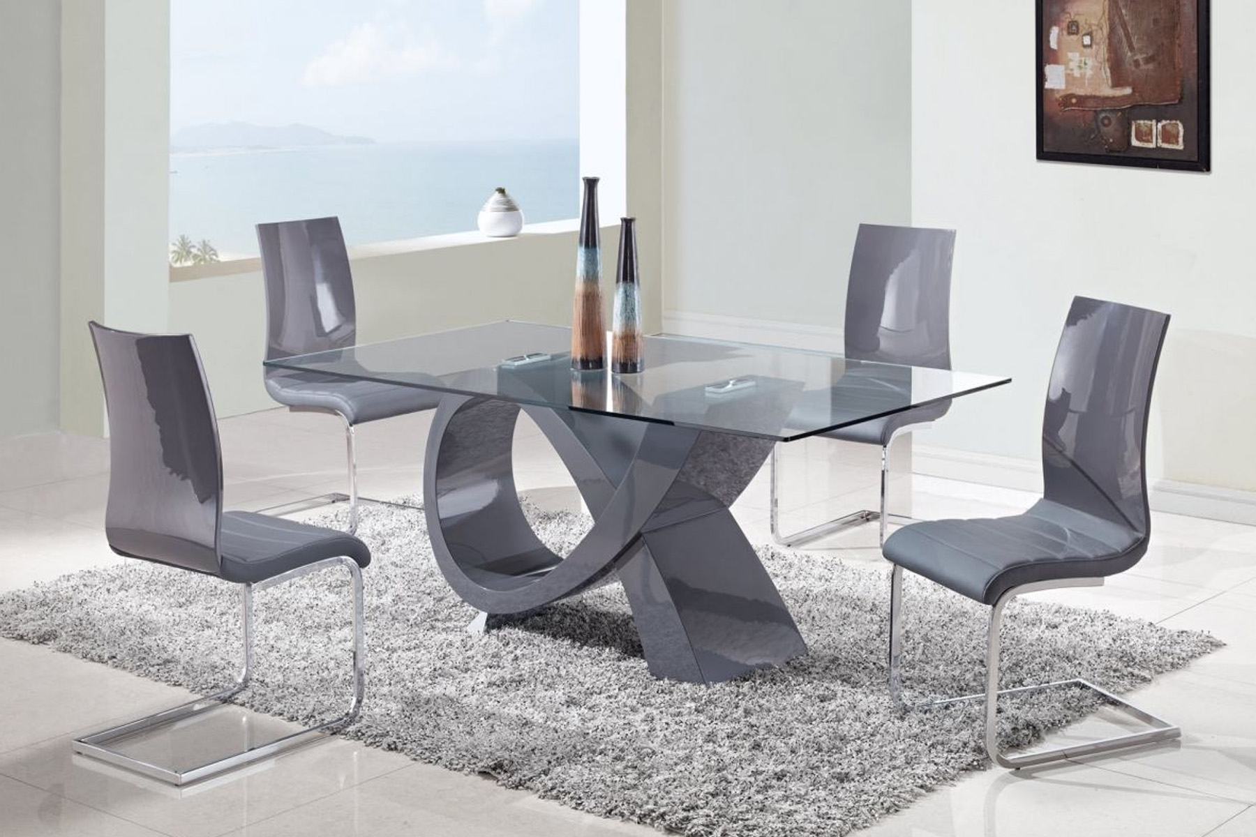 Grey Glass Dining Tables intended for Popular Furniture. Rectangle Glass Dining Table With X Grey Glossy Base On