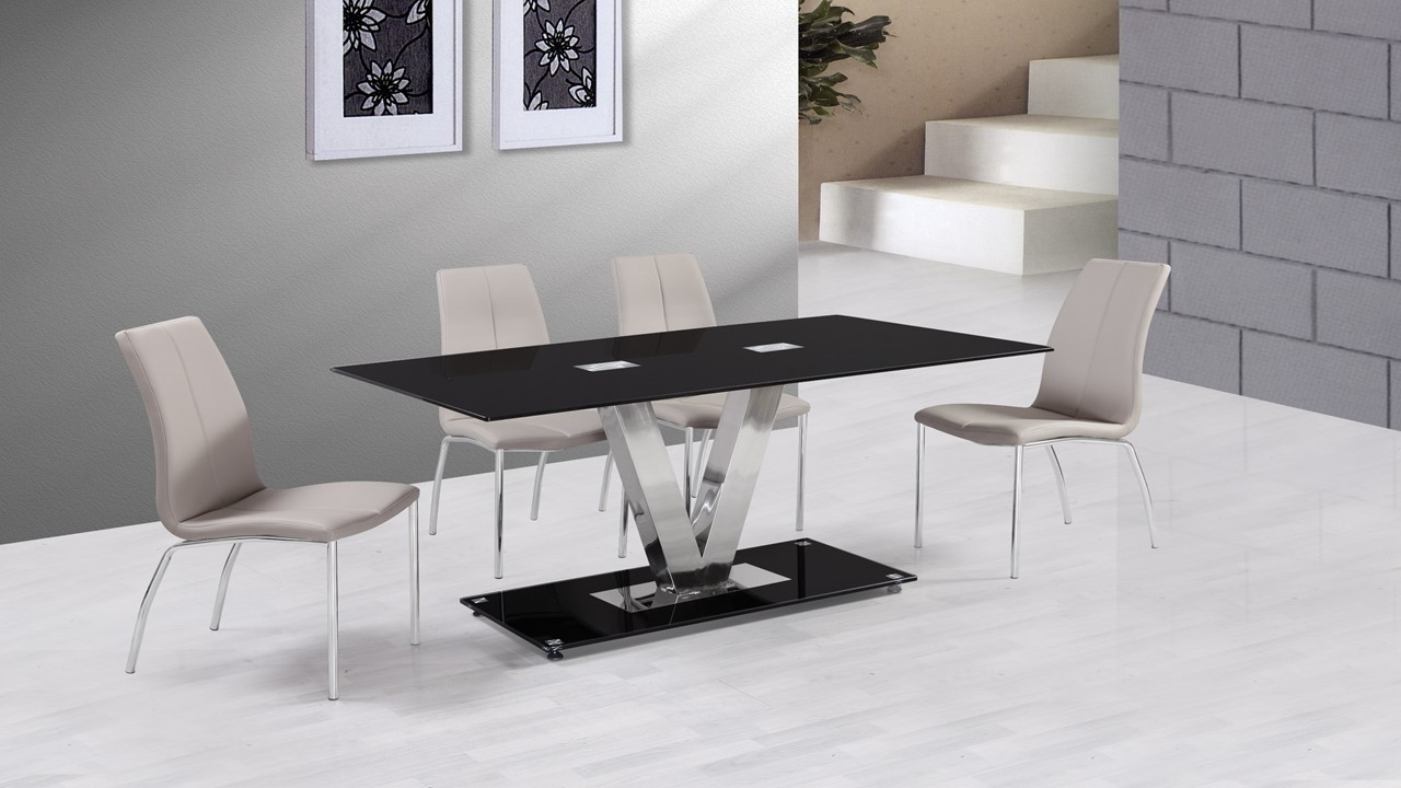 Grey Glass Dining Tables Throughout 2017 Black Glass Dining Table And 6 Grey Dining Chairs – Homegenies (Gallery 20 of 25)