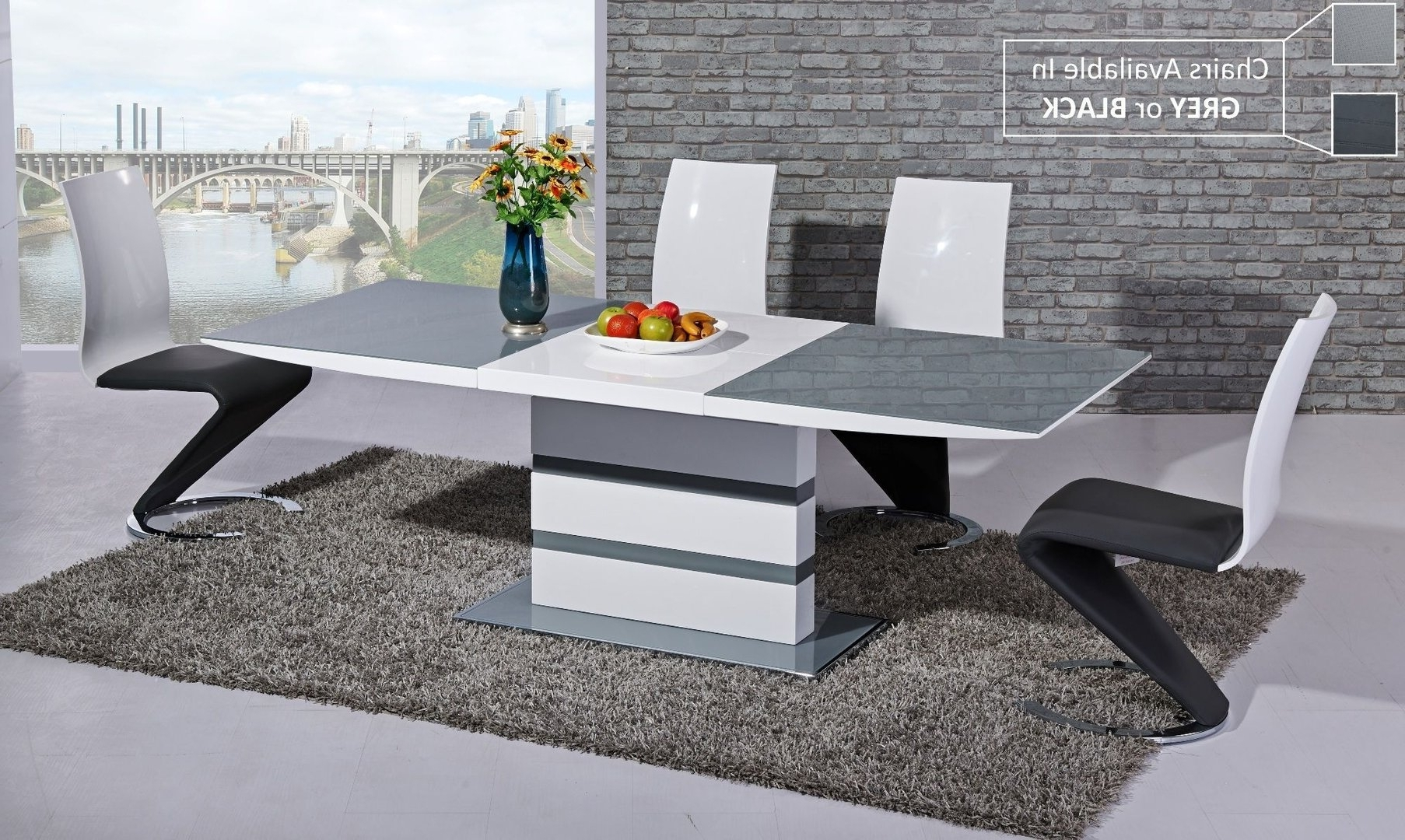Grey Glass White High Gloss Dining Table And 8 Chairs Homegenies For 2018 Black Gloss Dining Room Furniture (View 3 of 25)