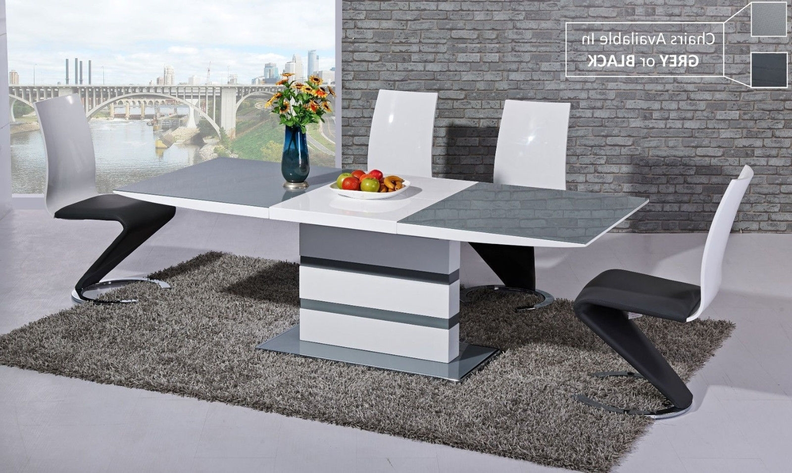 Grey Glass White High Gloss Dining Table With 6 Chairs (Gallery 10 of 25)