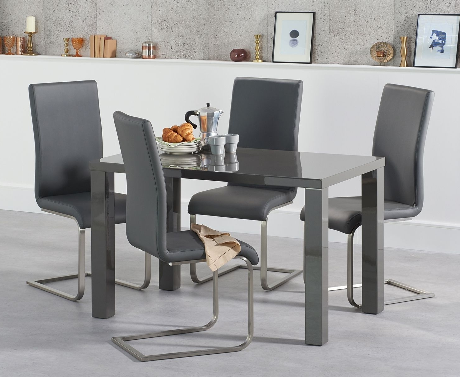Grey Gloss Dining Tables pertaining to Current Atlanta 120Cm Dark Grey High Gloss Dining Table With Malaga Chairs