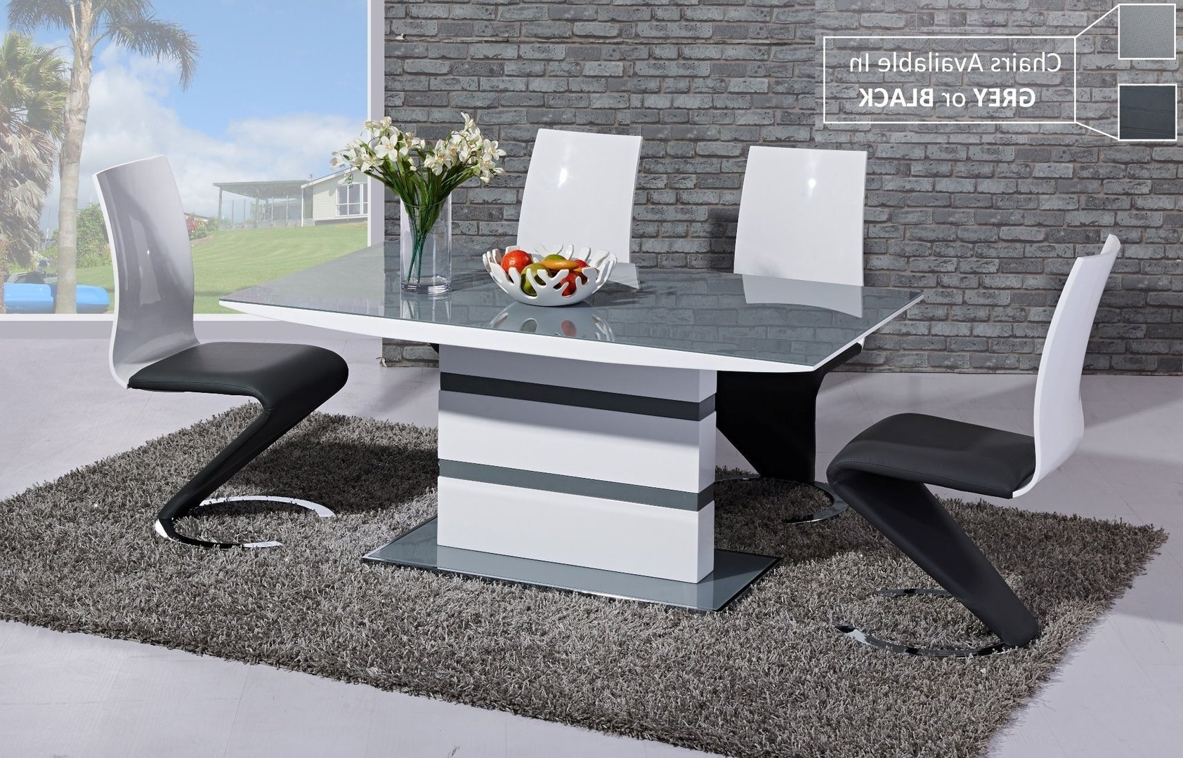 Grey Gloss Dining Tables Pertaining To Most Up To Date Grey Glass White High Gloss Dining Table And 6 Chairs Homegenies (View 15 of 25)