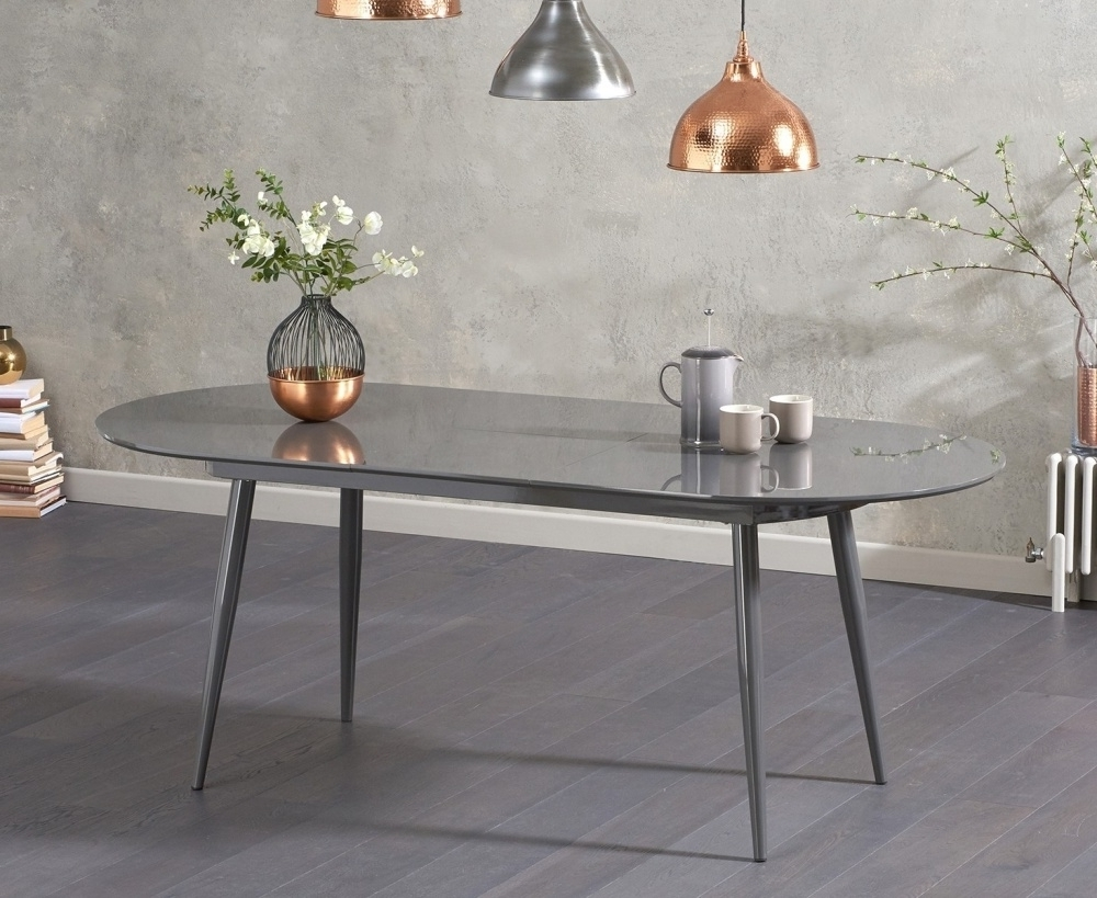 Grey Gloss Dining Tables Regarding Preferred Buy Mark Harris Opel Grey High Gloss Dining Table – 160Cm Oval (View 23 of 25)