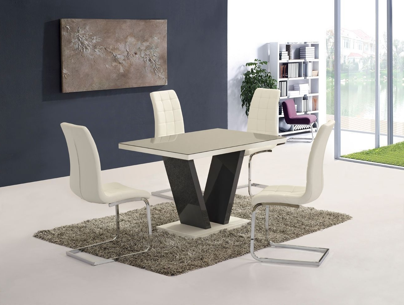 Grey High Gloss Glass Dining Table And 6 White Chairs -Homegenies with regard to Most Up-to-Date Cream Gloss Dining Tables And Chairs