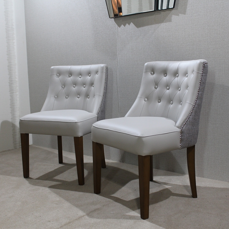 Grey Leather Dining Chairs regarding Most Up-to-Date Bespoke Ruby Button Back Grey Faux Leather Dining Chair : F D