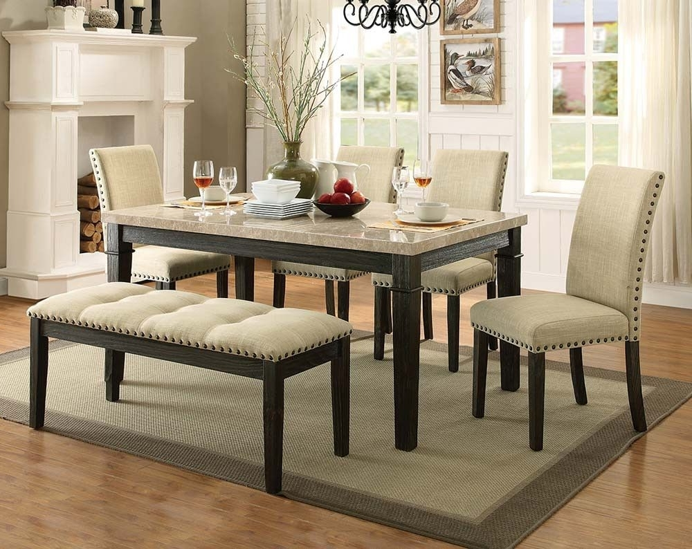 Greystone Marble 5 Piece Dining Set With Most Popular Caira Black 7 Piece Dining Sets With Upholstered Side Chairs (View 20 of 25)