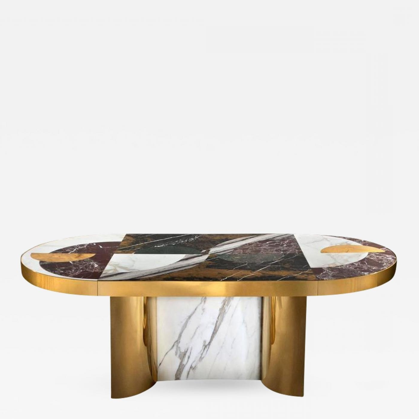 Half Moon Dining Table Sets Throughout Well Known Bohinc Studio – Half Moon Marble And Brass Dining Table (View 15 of 25)