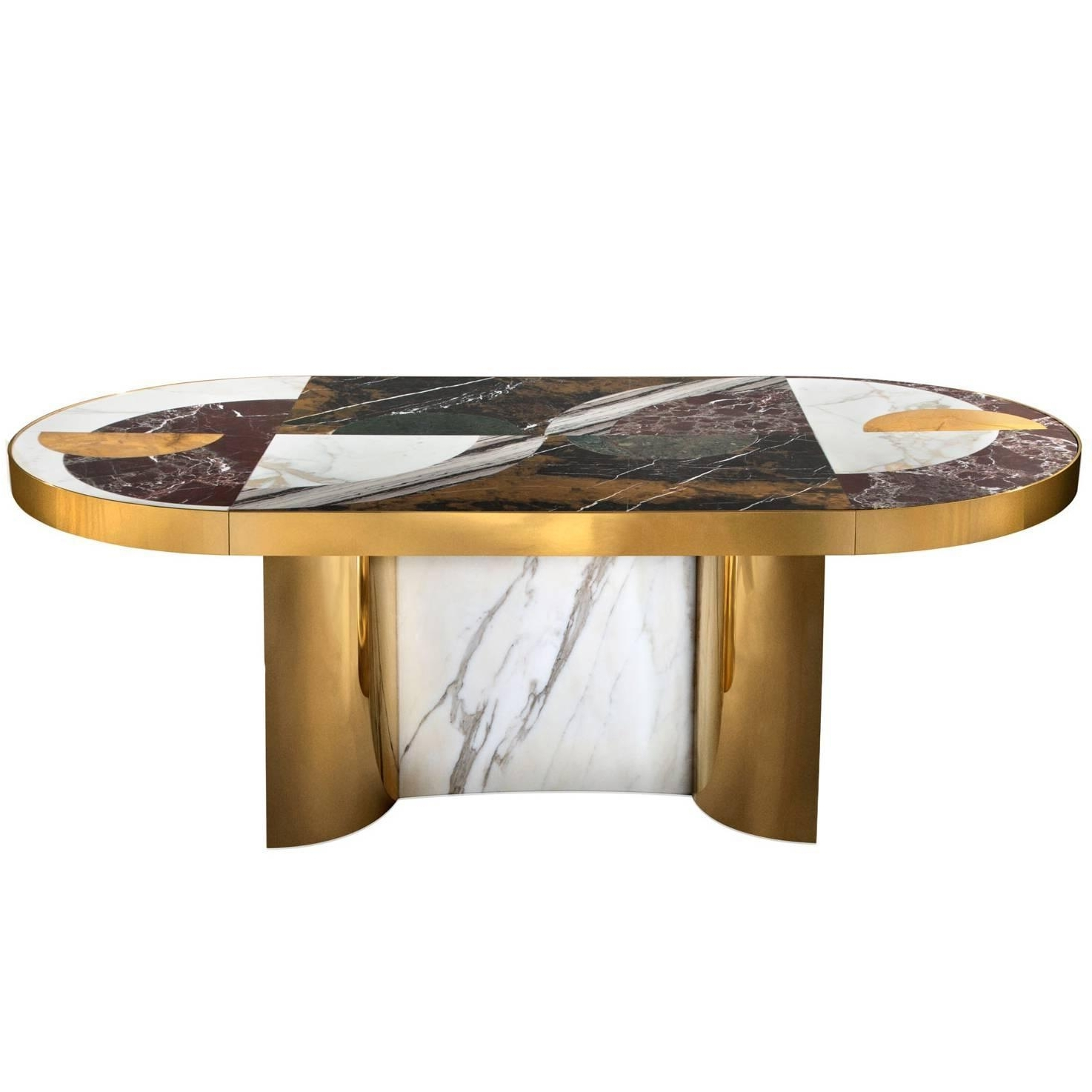 """Half Moon"""" Marble And Brass Or Gold-Plated Dining Table Designed with Recent Round Half Moon Dining Tables"""