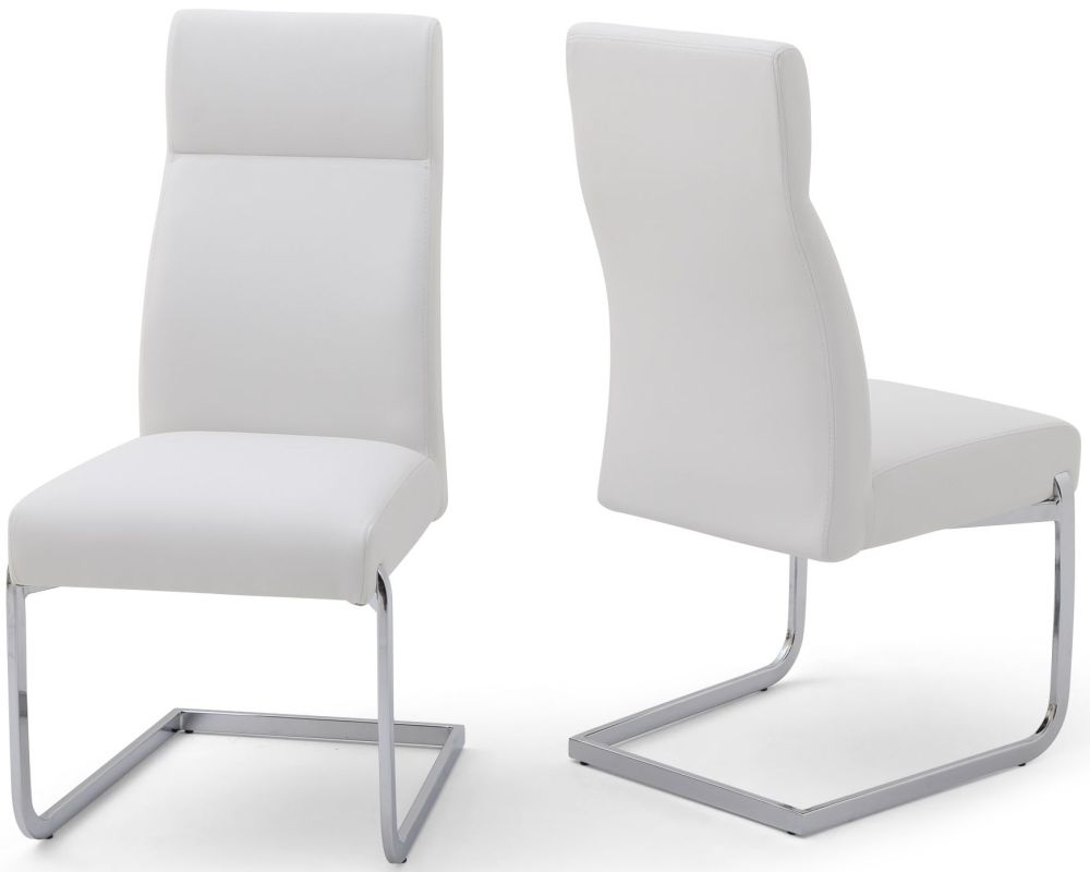 Halle White Faux Leather Dining Chair With Chrome Legs (Pair) inside Recent Chrome Leather Dining Chairs